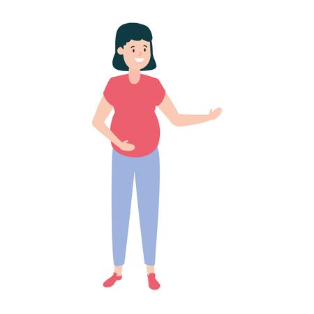 Ilustración de happy pregnant woman character vector illustration design - Imagen libre de derechos
