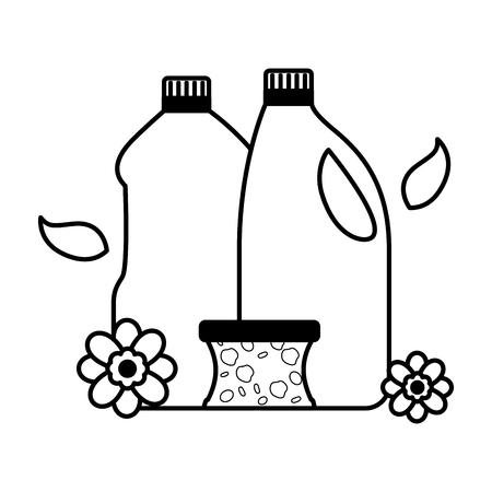 Illustration pour bottles sponge spring cleaning tools vector illustration - image libre de droit