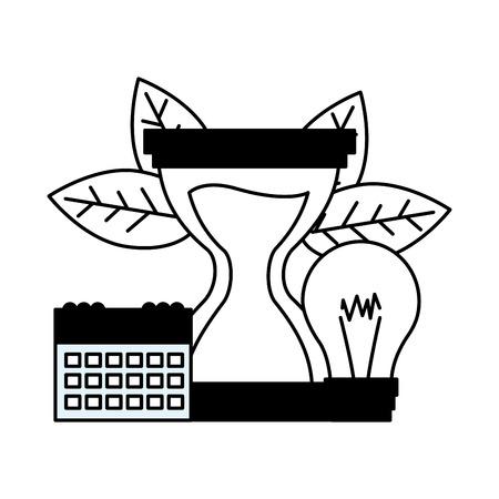 Illustration pour hourglass clock calendar bulb work time vector illustration - image libre de droit