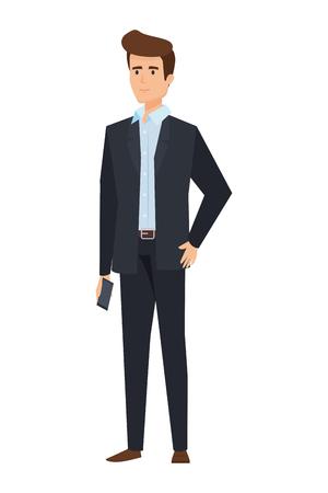 Illustration pour elegant businessman avatar character vector illustration design - image libre de droit