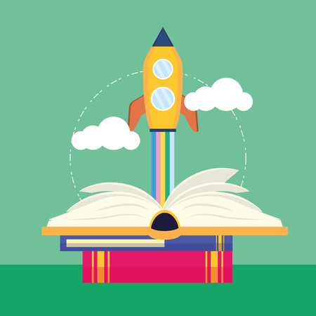 Illustration pour open book launching spaceship - world book day vector illustration - image libre de droit