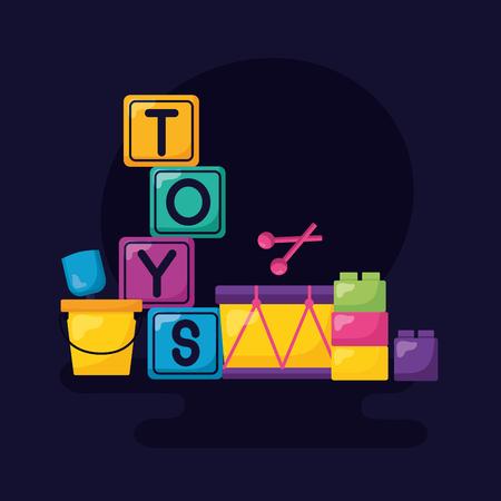 Ilustración de kids toys cubes bucket drum blocks vector illustration - Imagen libre de derechos