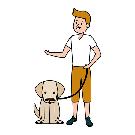 boy with his dog domestic vector illustration