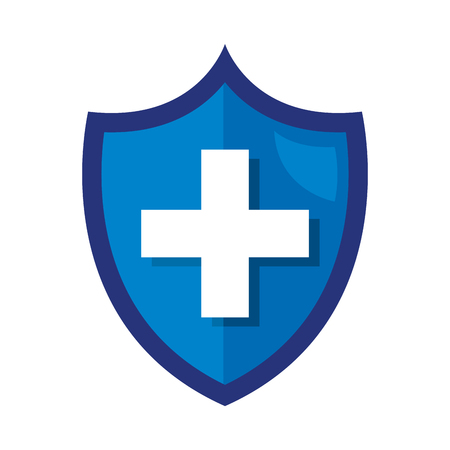 Illustration for shield with medical cross vector illustration design - Royalty Free Image