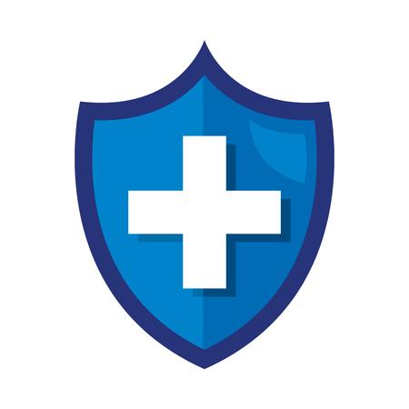 Ilustración de shield with medical cross vector illustration design - Imagen libre de derechos