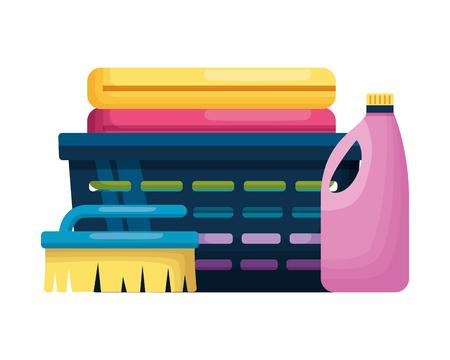 Illustration pour laundry bottle brush spring cleaning tools vector illustration - image libre de droit