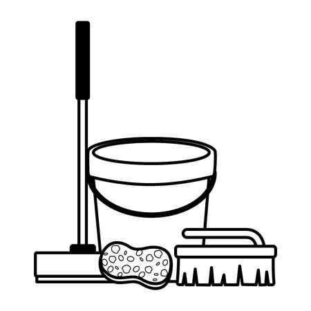 Illustration pour bucket broom sponge brush spring cleaning tools vector illustration - image libre de droit