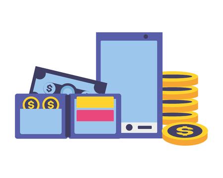 Illustration pour smartphone wallet money tax payment vector illustration - image libre de droit