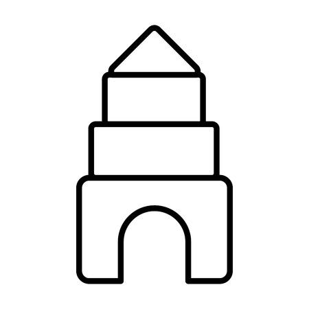 Ilustración de puzzles castle kids toys on white background vector illustration - Imagen libre de derechos