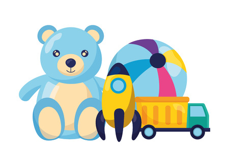 Illustration pour bear ball rocket and truck baby toys vector illustration - image libre de droit