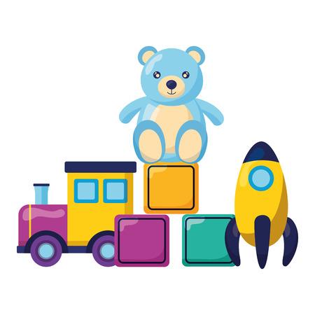 Ilustración de kids toys train filled blocks and bear vector illustration - Imagen libre de derechos