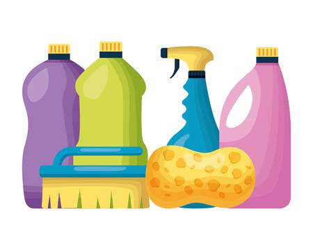 Illustration for bottles brush sponge spring cleaning tools vector illustration - Royalty Free Image