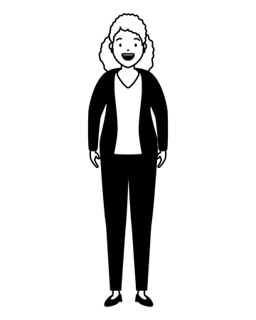 Illustrazione per woman standing character on white background vector illustration - Immagini Royalty Free