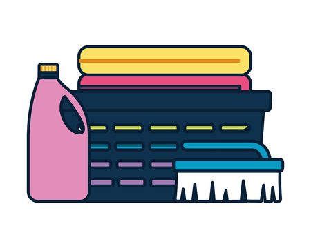 Illustration pour laundry bottle brush spring cleaning tools vector illustration - image libre de droit