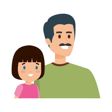 Ilustración de father with daughter characters vector illustration design - Imagen libre de derechos