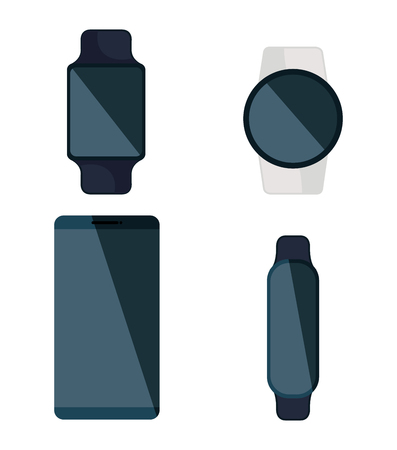 Illustration pour set of smartwatches and smartphone technology service vector illustration - image libre de droit