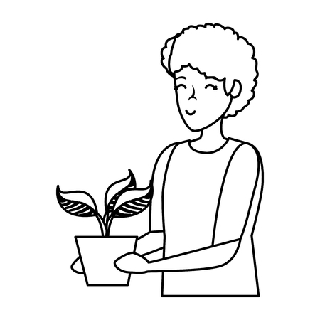 Illustration for young man lifting houseplant in pot vector illustration design - Royalty Free Image