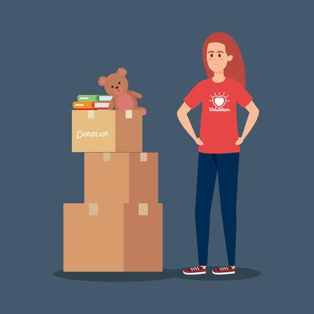 Ilustración de girl volunteer with boxes and books with teddy vector illustration - Imagen libre de derechos