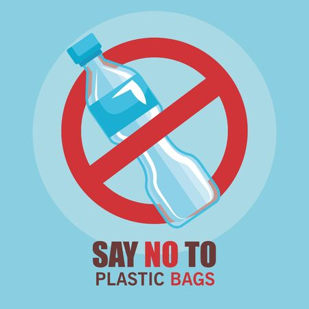 Illustration for toxic plastic bottle and say no more bags vector illustration - Royalty Free Image