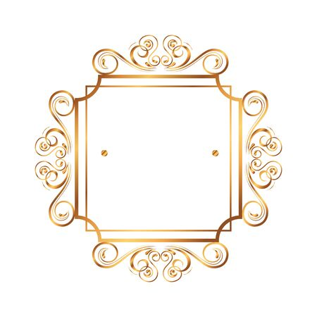 Illustration for golden square label victorian style vector illustration design - Royalty Free Image