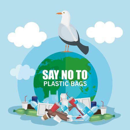 Ilustración de plastics waste pollution and dove bird vector illustration - Imagen libre de derechos