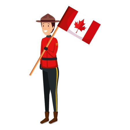 Illustrazione per canadian officer ranger with flag character vector illustration design - Immagini Royalty Free