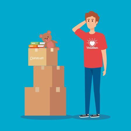 Ilustración de boy volunteer with boxes donation and books vector illustration - Imagen libre de derechos