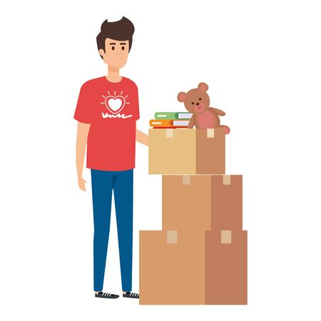 Ilustración de young man volunteer with donations boxes vector illustration design - Imagen libre de derechos