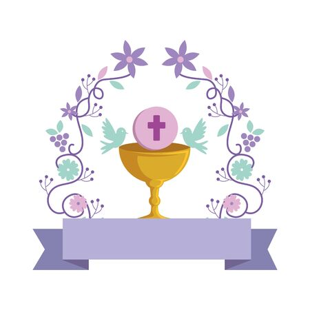 Illustration pour first communion in chalice with floral crown vector illustration design - image libre de droit