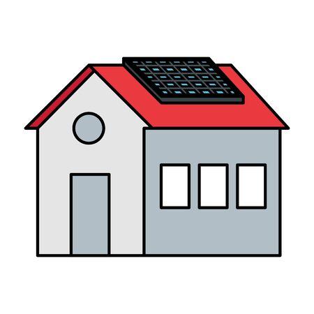 Ilustración de house with solar panel energy ecology vector illustration design - Imagen libre de derechos