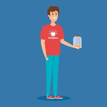 Ilustración de boy volunteer with moneybox and coins donation vector illustration - Imagen libre de derechos