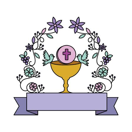 Illustration for first communion in chalice with floral crown vector illustration design - Royalty Free Image