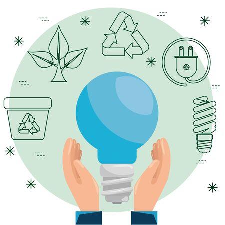 Ilustración de hands with save bulb to ecology sustainable vector illustration - Imagen libre de derechos
