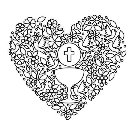 Ilustración de first communion in chalice with floral heart decoration vector illustration design - Imagen libre de derechos