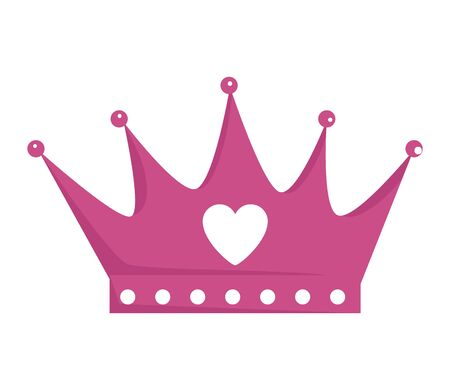 Illustration for crown queen with heart icon vector illustration design - Royalty Free Image