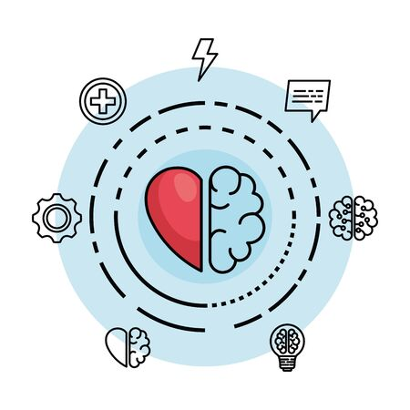 Photo pour creative brain with heart to creative mind vector illustration - image libre de droit