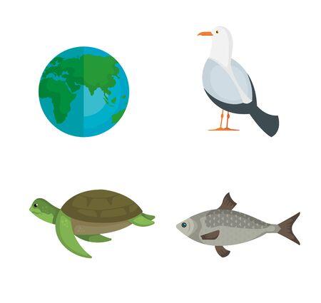 Ilustración de set earth planet with animals to environment conservation vector illustration - Imagen libre de derechos