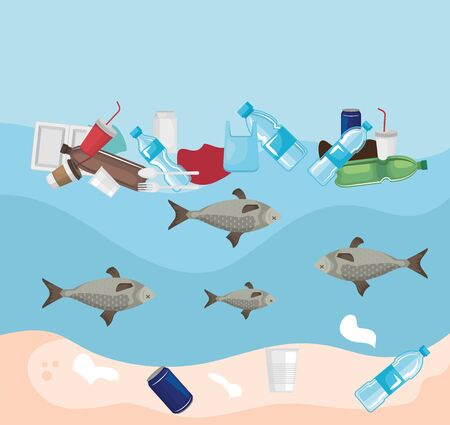 Illustration for toxic plastics in the sea and fishes animals contamination vector illustration - Royalty Free Image