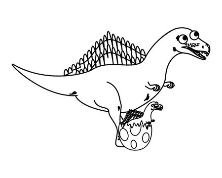 Illustration pour mother spinosaurus with baby breaking the shell egg vector illustration - image libre de droit