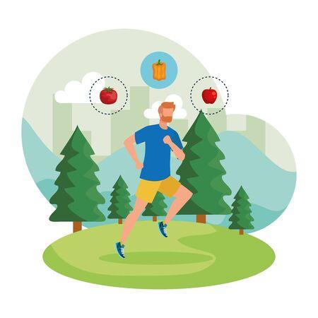 Ilustración de athletic man running in the landscape with healthy food vector illustration design - Imagen libre de derechos