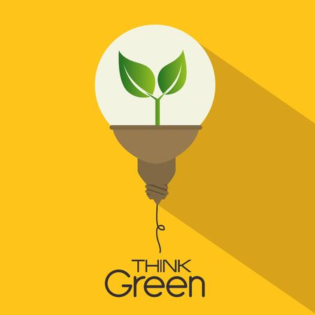 Ilustración de Ecology design over yellow background, vector illustration. - Imagen libre de derechos