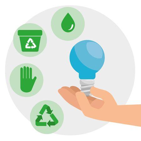 Ilustración de save bulb in the hands to environment conservation vector illustration - Imagen libre de derechos
