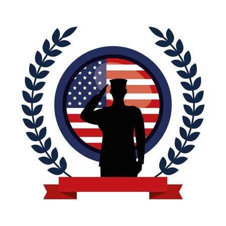 Ilustración de military man silhouette with emblem flag vector illustration design - Imagen libre de derechos