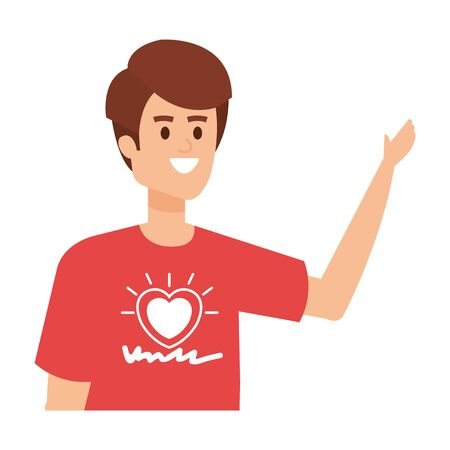 Ilustración de young man volunteer character vector illustration design - Imagen libre de derechos