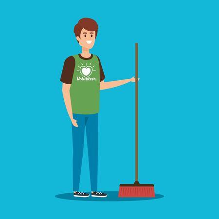Ilustración de boy volunteer with broom to charity support vector illustration - Imagen libre de derechos