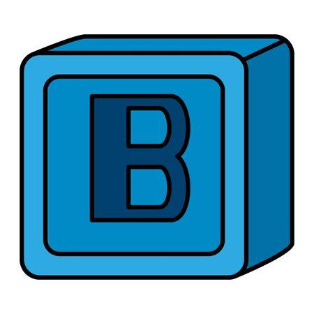 Ilustración de alphabet block toy baby with letter b vector illustration design - Imagen libre de derechos