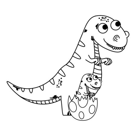 Illustration pour mother tyrannosaurus rex with baby breaking the shell egg vector illustration - image libre de droit