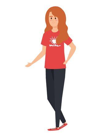 Ilustración de young woman volunteer character vector illustration design - Imagen libre de derechos