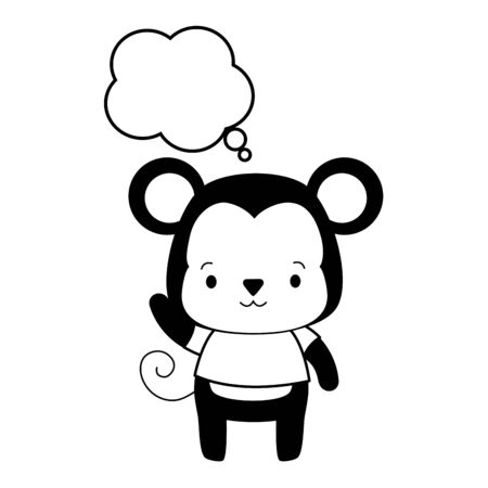 Illustration for cute monkey cartoon speech bubble vector illustration design - Royalty Free Image