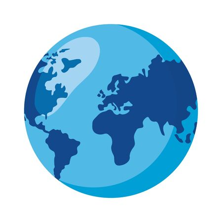 Illustration for world planet map on white background vector illustration - Royalty Free Image